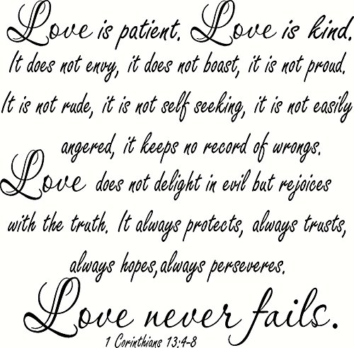 1 Corinthians 13:4-8 V2 Large Size, Bible Verse Wall Decal, Love, Patient Kind Not Envy Always Hopes Perseveres Never Fails. Our Inspirational Christian Scripture Wall Arts Are Made in the Usa. Love Quotes
