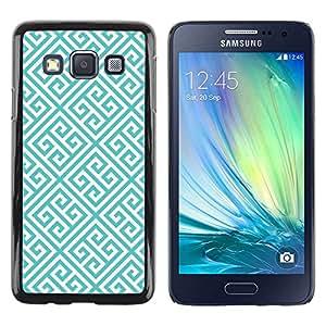 FECELL CITY // Duro Aluminio Pegatina PC Caso decorativo Funda Carcasa de Protección para Samsung Galaxy A3 SM-A300 // Blue White Wallpaper Shape