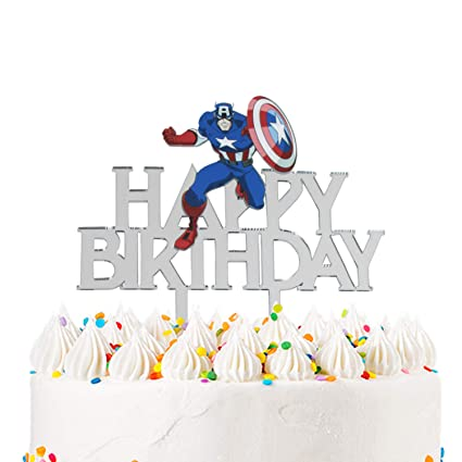 Outstanding Acrylic Happy Birthday Captain America Cake Topper For Avengers Funny Birthday Cards Online Elaedamsfinfo