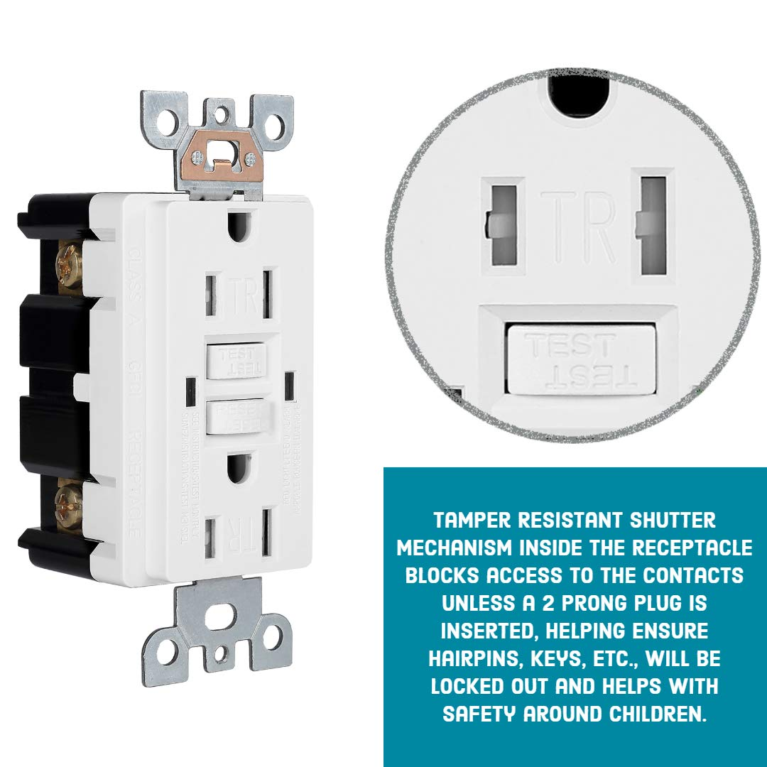 10 Pack - GFCI Duplex Outlet Receptacle - Tamper Resistant & Weather Resistant 15-Amp/125-Volt, Self-Test Function with LED Indicator - UL Listed, cUL Listed - Wall Plate and Screws Included, White by Dependable Direct (Image #6)