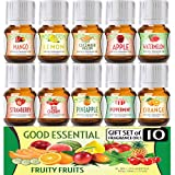 Fruity Fruits Good Essential Fragrance Oil Set (PACK OF 10) 5ml Set Includes Strawberry, Apple, Watermelon, Pineapple, Cucumber Melon, Red Cherry, Mango, Peppermint, Lemon, and Orange