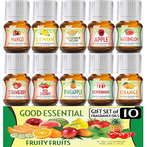 (Fruity Fruits Good Essential Fragrance Oil Set (PACK OF 10) 5ml Set Includes Strawberry, Apple, Watermelon, Pineapple, Cucumber Melon, Red Cherry, Mango, Peppermint, Lemon, and Orange)