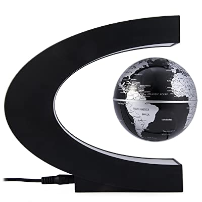 Megadream C Shape Decoration Magnetic Levitation Floating Globe World Map with LED Lights & 360 Degree Map Perfect Show for Kids Educational Gifts Teaching Demo Home Office – Black: Office Products