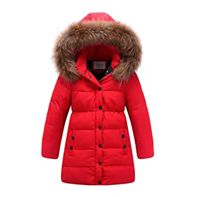469d3e342ff1 LJYH Big Girls  Winter Down Parka Thick Hooded Outwear Coat Red 2-3years