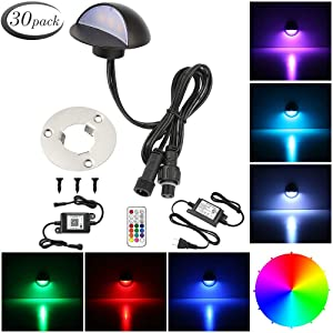 """LED Deck Lighting Kits, FVTLED 30pcs WiFi Controller Φ1.97"""" Low Voltage LED Deck Lighting RGB Recessed Light Work with Alexa Google Home Wireless Smart Phone RGB Lamp"""