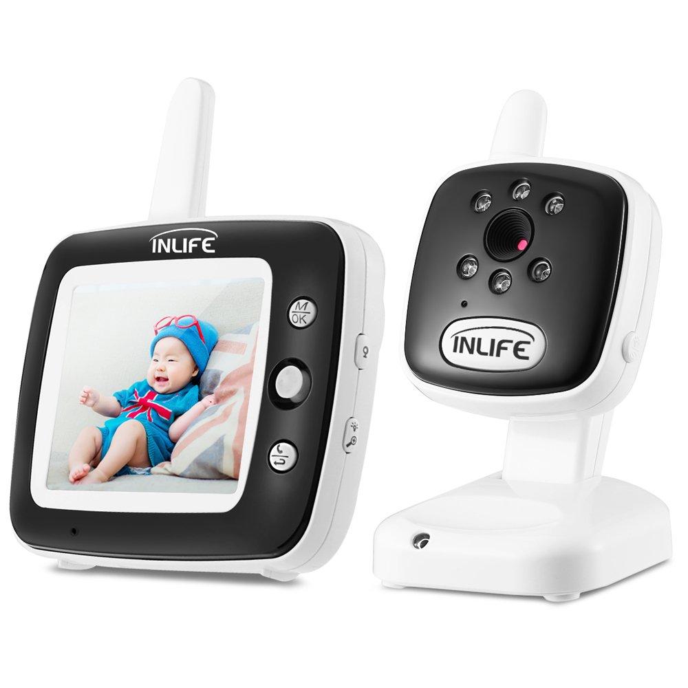 Baby Monitor InLife 2, 4GHz Wireless con 3, 5inch Telecamera Videocamera LCD Colorata Visione Notturna Ninna Nanna Monitoraggio Temperatura Videosorveglianza Citofoni Bidirezionali
