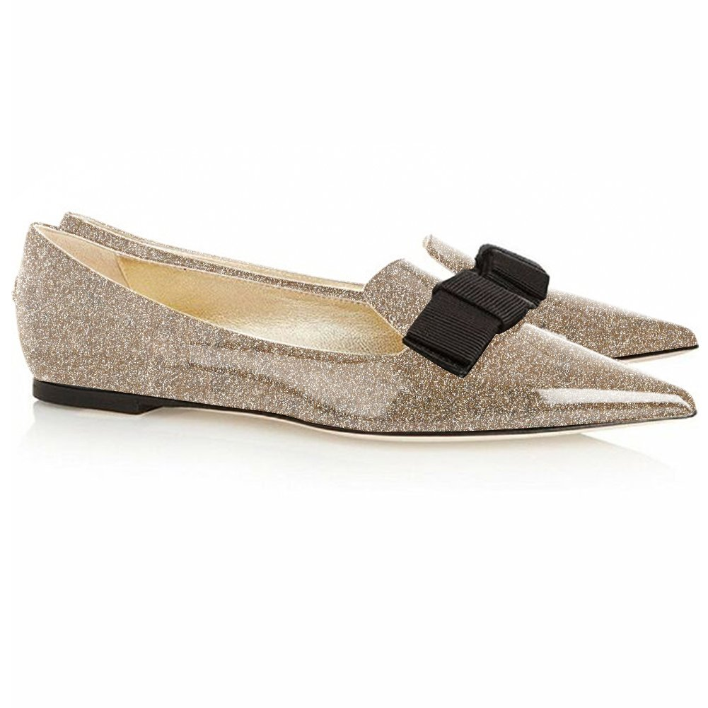 Eldof Women's Flats, Pointed Toe Flats Pumps, Patent Leather Flats Pumps, Walking Dress Office Classic Comfortable Flats B07DZWSWVB 13 B(M) US|Gold-glitter