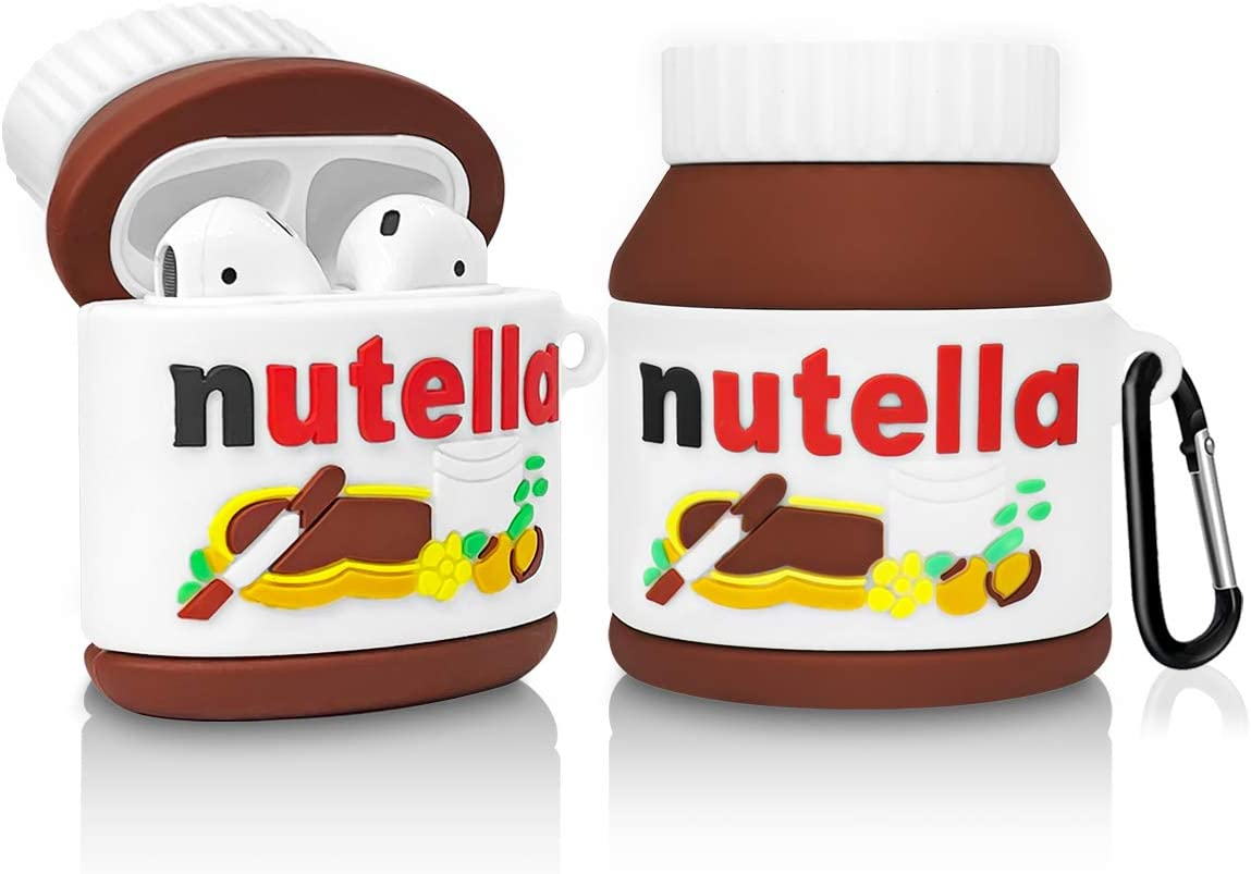 AirPod 2&1 Case, Silicone Protective Food Cool Cute Cartoon Fun Silicone Cover for Girls Teens Kids, Shockproof Skin Accessories Case for airpods - Nutella Chocolate Sauce Bottle