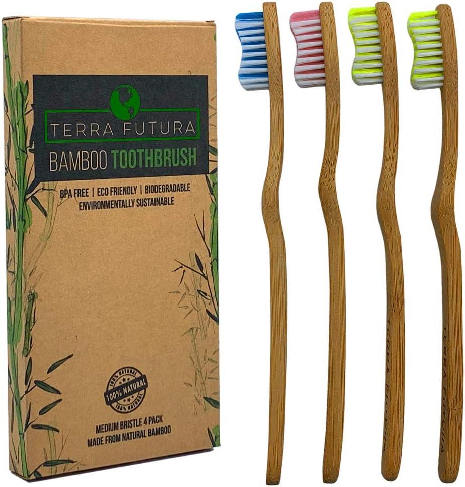 Cepillo de dientes Terra Futura de bambú, 4 unidades de cepillos ...
