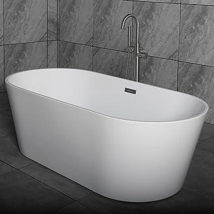 WOODBRIDGE B 0014 Freestanding Acrylic Bathtub Tub, 59u0026quot; B 0014 White