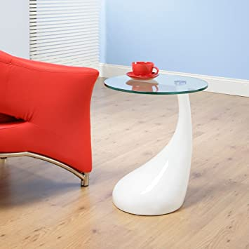 Side Table / End Table / Lamp Table Round, White Gloss, Modern CFX125