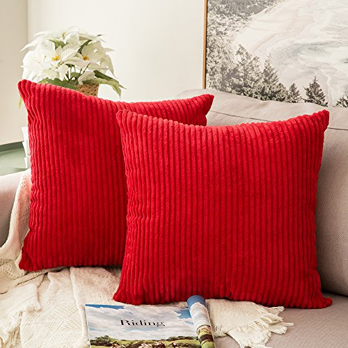 MIULEE Pack of 2, Corduroy Soft Soild Decorative Square Throw Pillow Covers Set Cushion Cases Pillowcases for Sofa Bedroom Car 18 x 18 Inch 45 x 45 cm (Throw Red Pillow)