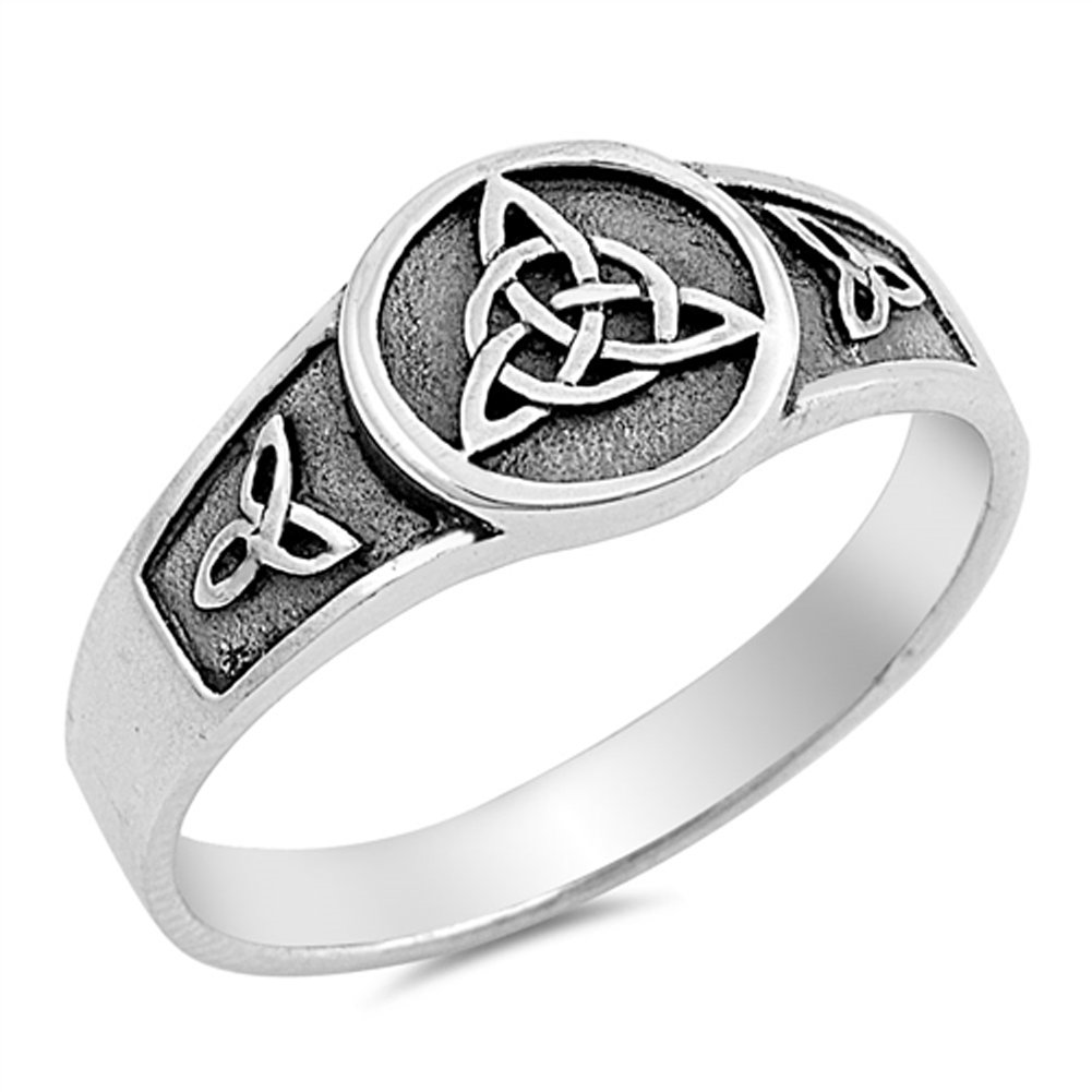 Celtic Knot Trinity Ring New .925 Sterling Silver Band Sizes 5-10 Sac Silver