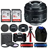 Canon EF-S 35mm f/2.8 Macro IS STM Lens + 49mm Filter Kit + 32GB Memory Card + 24 Slot Hardcase Card Holder + Lens Pouch + Flexible Tripod + Lens Band (Red) + Lens Band (Blue) - Top Value Lens Bundle!