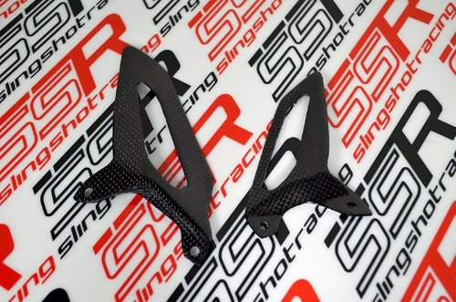 Ducati 1199 Panigale S/R Tricolore 1299 959 Carbon Fiber Foot Heel Ankle Guards Plates Protectors (Glossy)