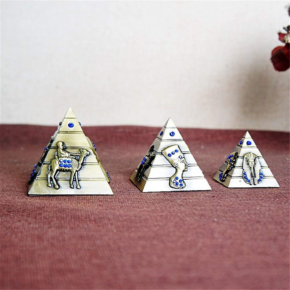 PROW Metal Egyptian Pyramids Figurine Replica 3 Piece Set, Egyptian Pyramid Display Statue Ancient Art Building Model for Desktop Decoration Souvenir Gift Sculpture