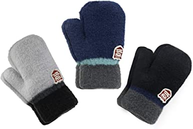 Baby Toddlers Kids Mittens Winter Thick Knit Gloves No Scratch for 1-5T Unisex Baby Boys Girls 6-Pair