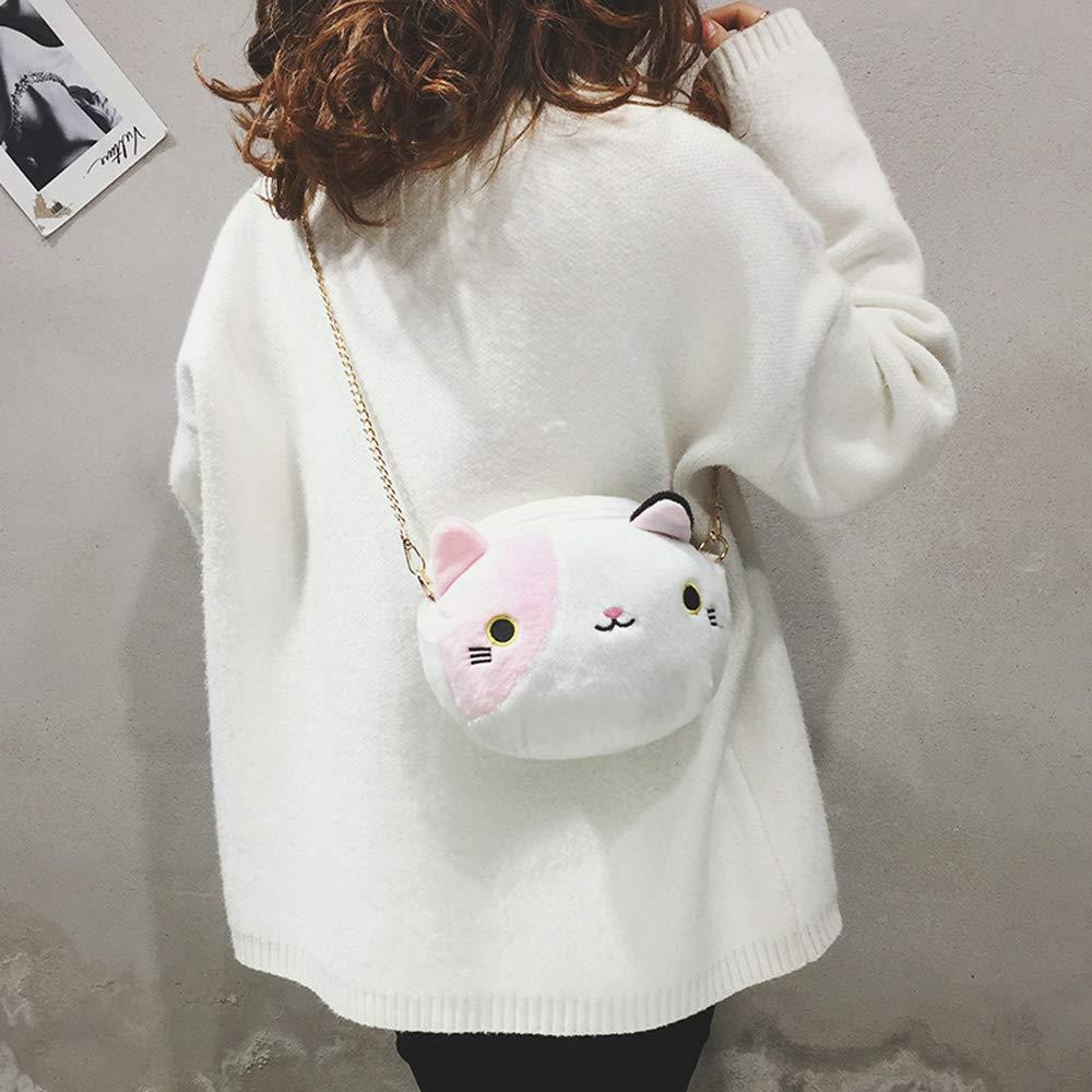 WishToBuy Cute Plush Chain Small Round Bag Cartoon Kitten Fashion Shoulder Bag Messenger Bag.