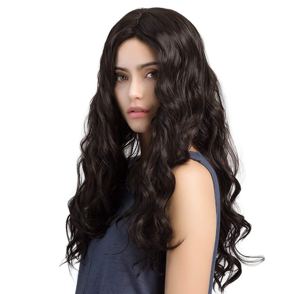 "Hawkko Long Wavy Synthetic Black Wigs for Women 26"" Natural Looking Mid-Part Hair Heat Resistant"