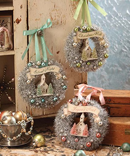Bethany Lowe Christmas Tinsel Wreaths set of 3 assorted