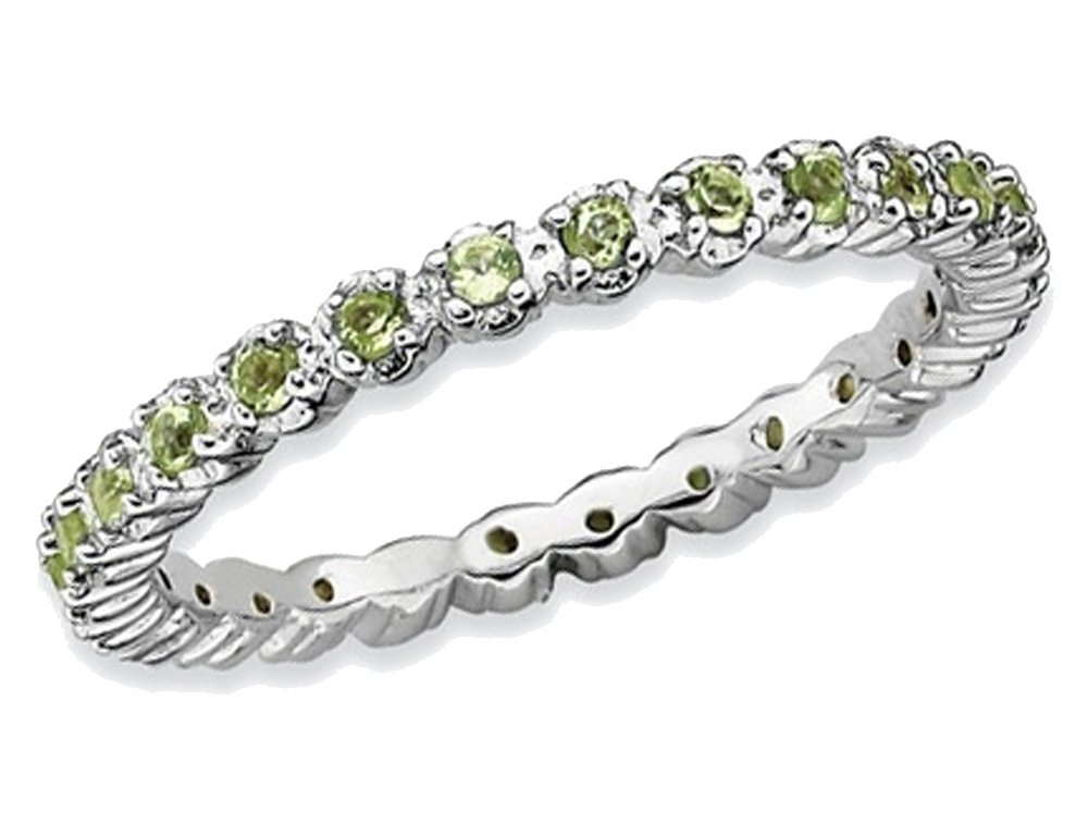 Natural Green Peridot 1/2 Carat (ctw) Eternity Band Ring in Sterling Silver