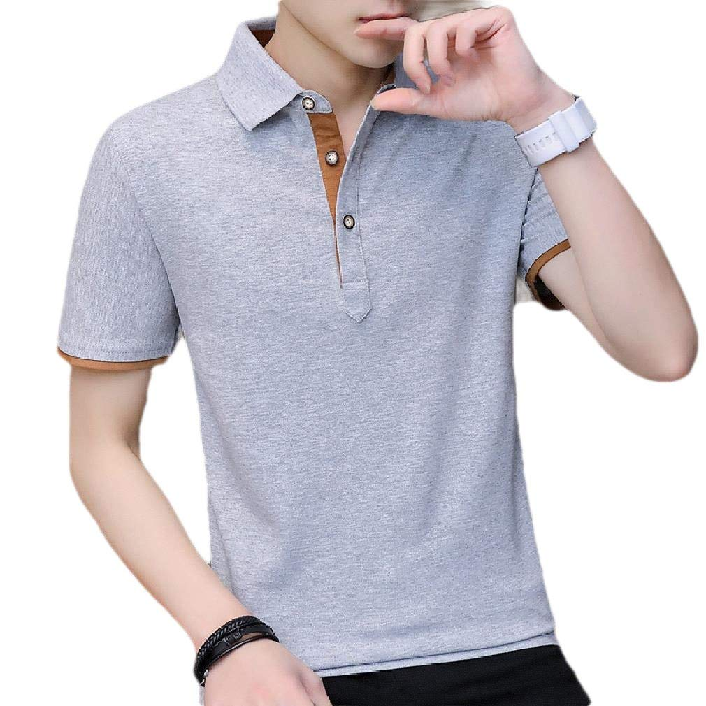 Zimaes-Men Solid Button Down Stitching Fashion Pullover Polo Tshirt Top