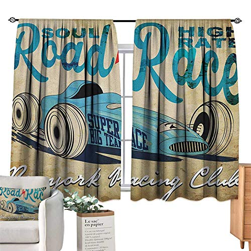 ParadiseDecor Cars,Room Darkening Curtains New York Racing Club Race Car from Twenties Road Race Team Old School Cool Design Blackout Drapes for Baby Bedroom W55 x L39