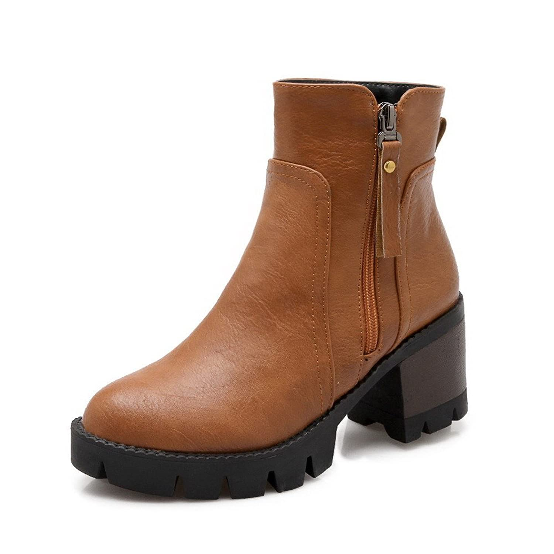 Women's PU Kitten-Heels Closed Round Toe Solid Zipper Boots