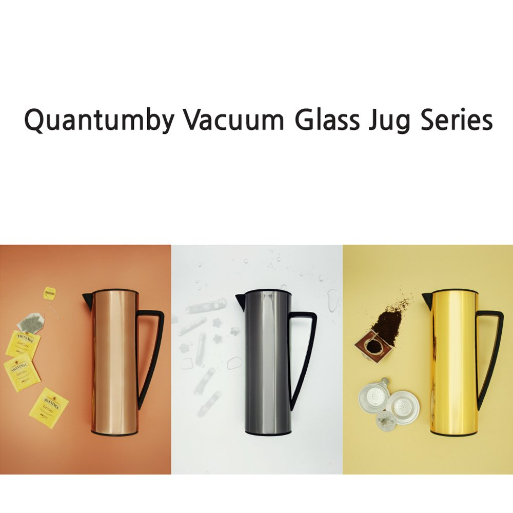 Gold Quantumby Stainless Steel Body Double Wall Glass Liner Vacuum Water Bottle Flask Jugs Keeps Hot or Cold Beverages 48 Hours Coffee Pot 34 OZ 1.0 Liter