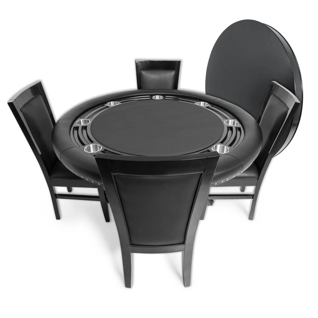 BBO Poker Nighthawk Poker Table for 8 Players with Black Felt Playing Surface, 55-Inch Round, Includes Matching Dining Top with 4 Dining Chairs by BBO Poker