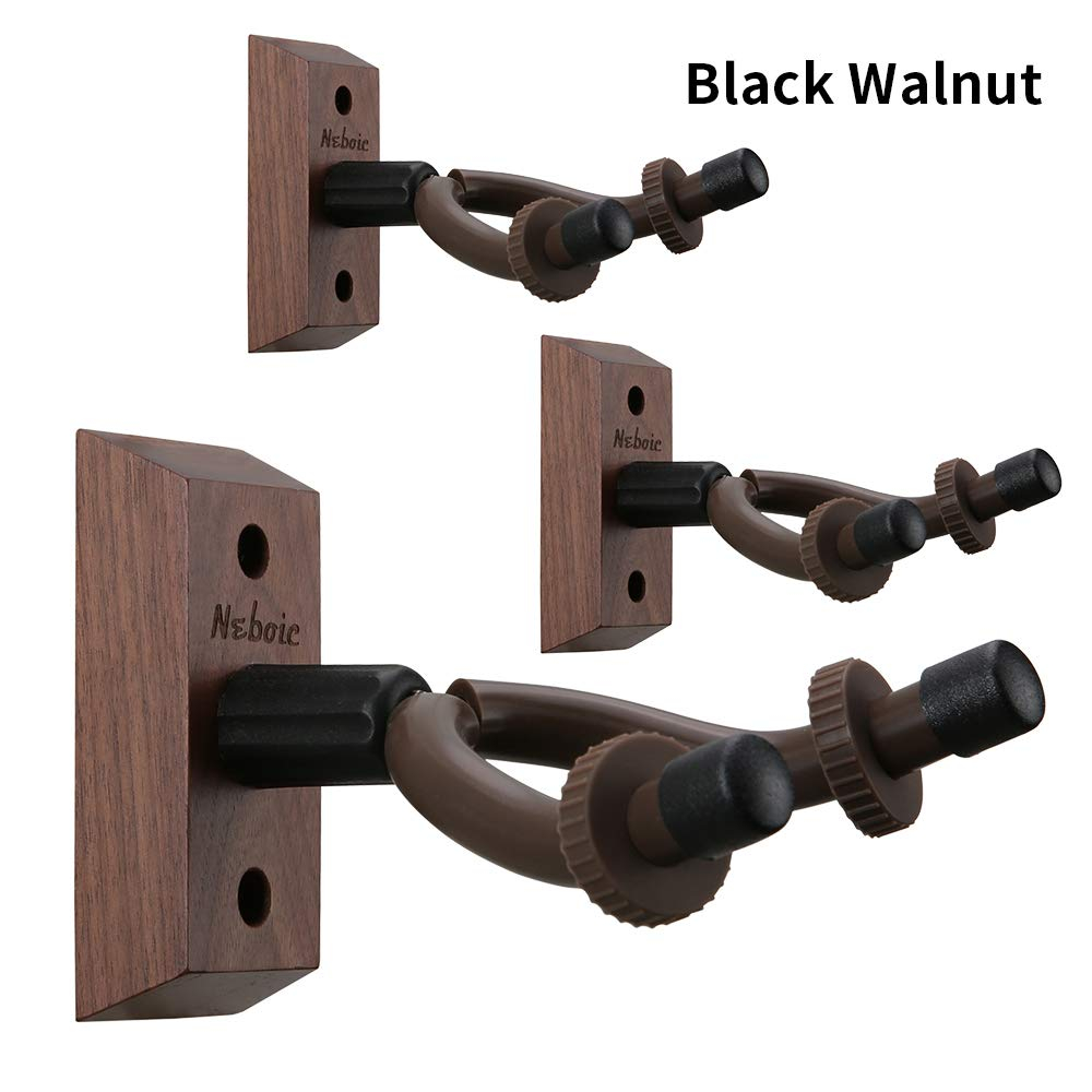 3 Pack Guitar Wall Mount, Neboic Hard Wood Guitar Wall Hanger, Black Walnut Guitar Hook, Guitar Accessories for Acoustic Electric Bass Ukulele Guitar Holder, Stand