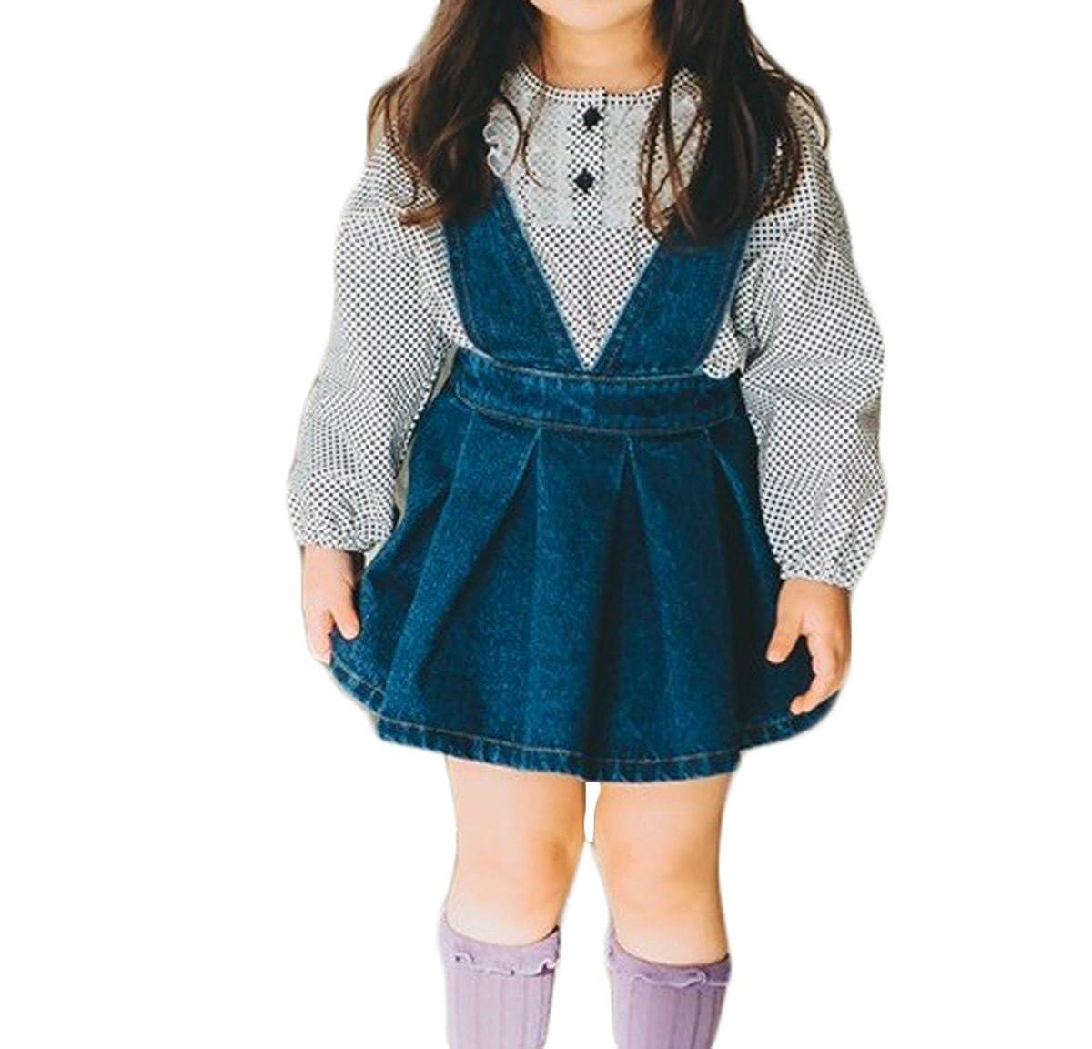 GoodFilling Toddler Baby Girls Suspenders Braces Skirt Denim Jumpsuit Skirt