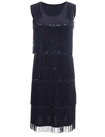 Hblld Womens Tassel Sequin Flapper Cocktail Party Prom Dress Ball Gowns Black