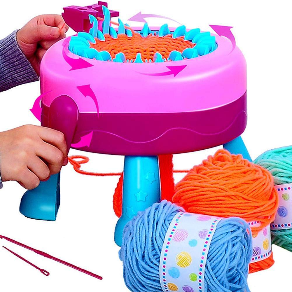 Kids Knitting Machine Toy,Girls Crafts DIY Rotating Knitting Machine Smart Weaver Loom Kit Knitting Machine Educational Toys for Kids