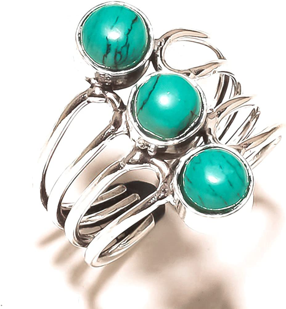 Handmade Jewelry Blue Turquoise Sterling Silver Overlay 6 Grams Ring Size 8.5 US Sizable Inexpensive