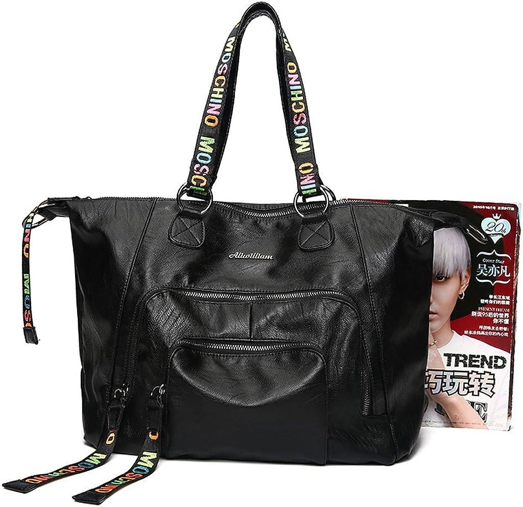 LSJT Woman Bag Leather Locomotive Bag Large Capacity Shoulder Bag Travel Handbag Black For Work