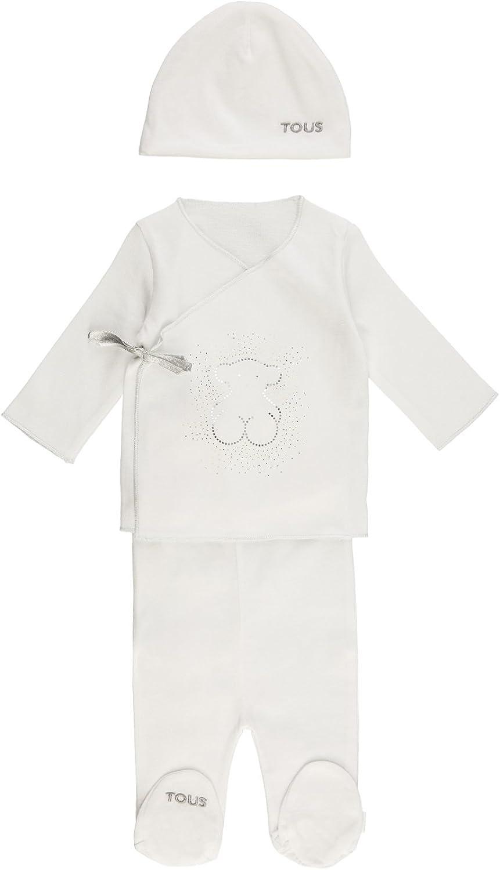 Tous Baby Crown-802 Conjuntos de Pijama, Blanco (Blanco 00001), 50 (Tamaño del Fabricante:1M) (Pack de 3) Unisex bebé
