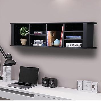 Charming Yaheetech Wall Mounted Desk Hutch Floating Storage Hutch Black