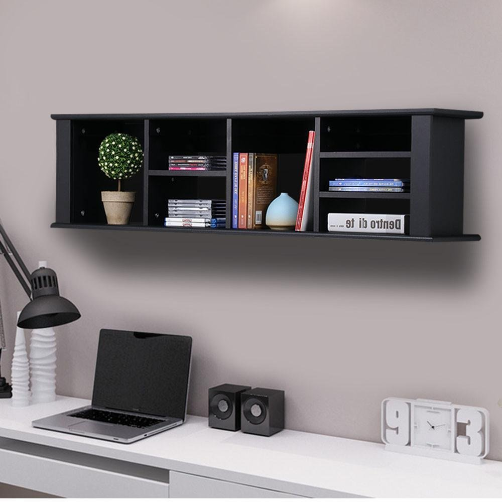 Yaheetech Wall Mounted Buffet Desk Hutch Wall Shelf Canibet Floating Storage Hutch Black