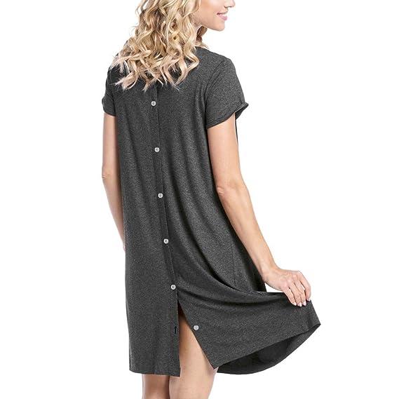 Kinlene Vestido Lactancia de Mujer Embarazo,Camisón de Noche para amamantar, Vestido de Mujer
