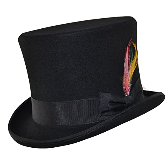 42edf6c0115 Wool Felt Victorian Tall Top Hat with Feather  Amazon.co.uk  Clothing