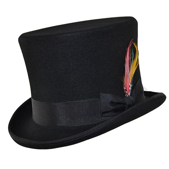 Cappello a cilindro in feltro di lana stile vittoriano con piuma Nero 55  cm  Amazon.it  Abbigliamento 2e77809c1cb5