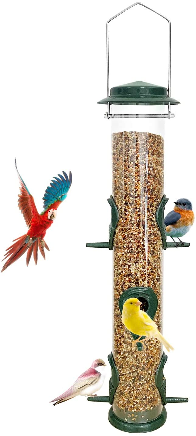 Metal Bird Feeder Tube Hanging Feeders Wild Bird Seed Feeder Aluminum 6 Port Bird Feeders,1.4mm Extra Thick Solid Tube Transparent with Steel Hanger Weatherproof Great for Attracting Birds Green