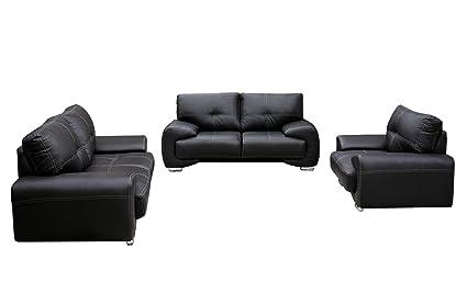 Polstergarnitur Sofa Set 3er 2er Sessel 3 2 1 Wohnlandschaft 3 Sitzer Und 2 Sitzer Mit Sessel Mobel Set Florida Schwarz