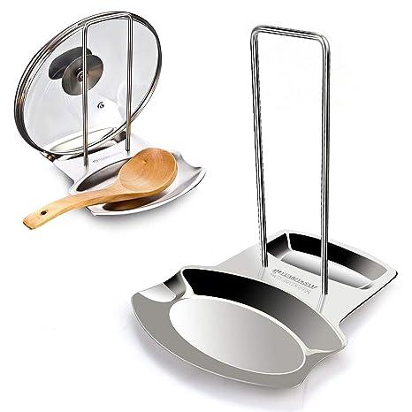 Soporte de cocina para tapas, organizador para cucharas de acero inoxidable y tapas de metal, ollas cucharas sartenes tapas utensilios de cocina ...