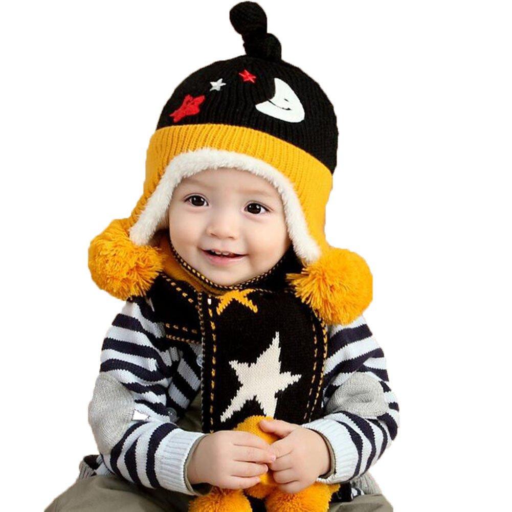 cosanter gorro bufanda conjuntos Beanie Knit gorro de lana de color negro bufanda  para niños de invierno para bebé 6 - 24 meses  Amazon.es  Bebé 0bb87f8e2d0