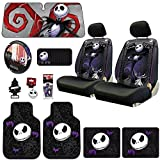 jack and sally car seat covers - New Design 14 Pieces Nightmare Before Christmas Jack Skellington Car Truck SUV Seat Covers Rubber Front and Rear Floor Mat Sunshade CD Visor Air Fresheners Keychain Set with Little Tree Air Freshener