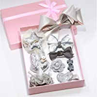Yesiidor 10 PCS Hair Accessories Set Girl Bowknot Flower Hair Clip Multi-Style Bow Hairpin Ribbon Gift