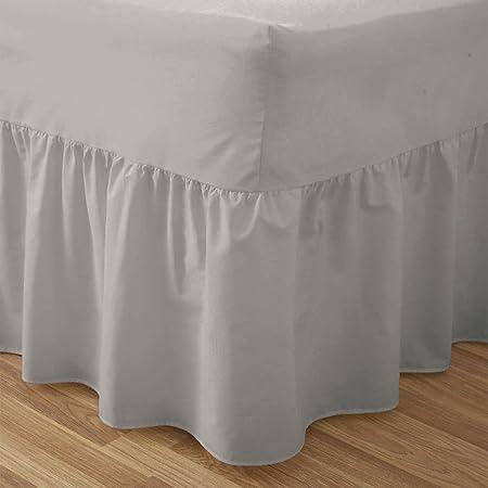 PLAIN a 50:50 polialgodón sábana bajera ajustable para cama somier regulable en gris: cama KING SIZE
