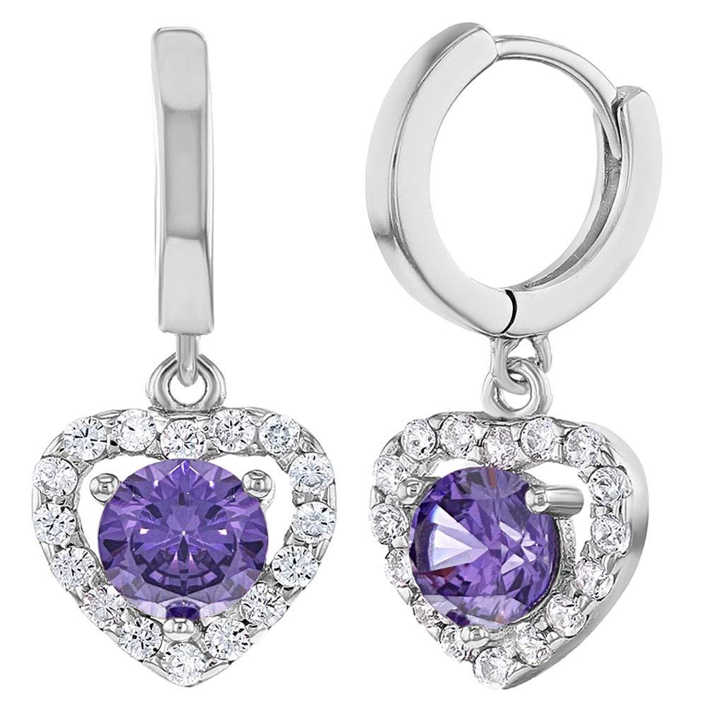 925 Sterling Silver Hoop Heart Dangle Earrings Clear Purple CZ for Girls Teens In Season Jewelry SS-03-00128
